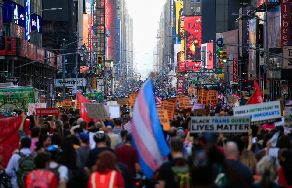 Así lucía la séptima avenida de Nueva York. (Photo by KENA BETANCUR/Afp/AFP via Getty Images)