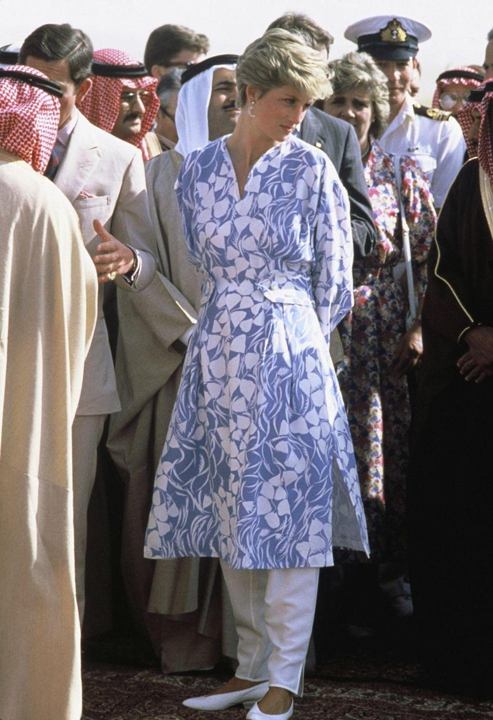 <p>Wearing Catherine Walker on a visit to Saudi Arabia. </p>