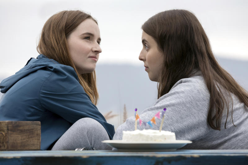 """This image released by Annapurna Pictures shows Kaitlyn Dever, left, and Beanie Feldstein in a scene from the film """"Booksmart,"""" directed by Olivia Wilde. (Francois Duhamel/Annapurna Pictures via AP)"""