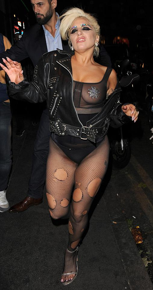 After a night on the town in Ol' London Town, Gaga was happy to let it all hang out - nipple pasties and all.