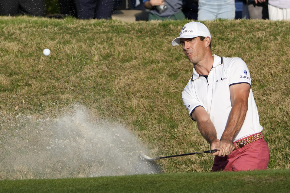 Billy Horschel hits from the sand on the 16th hole during the final round of the Dell Technologies Match Play Championship golf tournament Sunday, March 28, 2021, in Austin, Texas. (AP Photo/David J. Phillip)