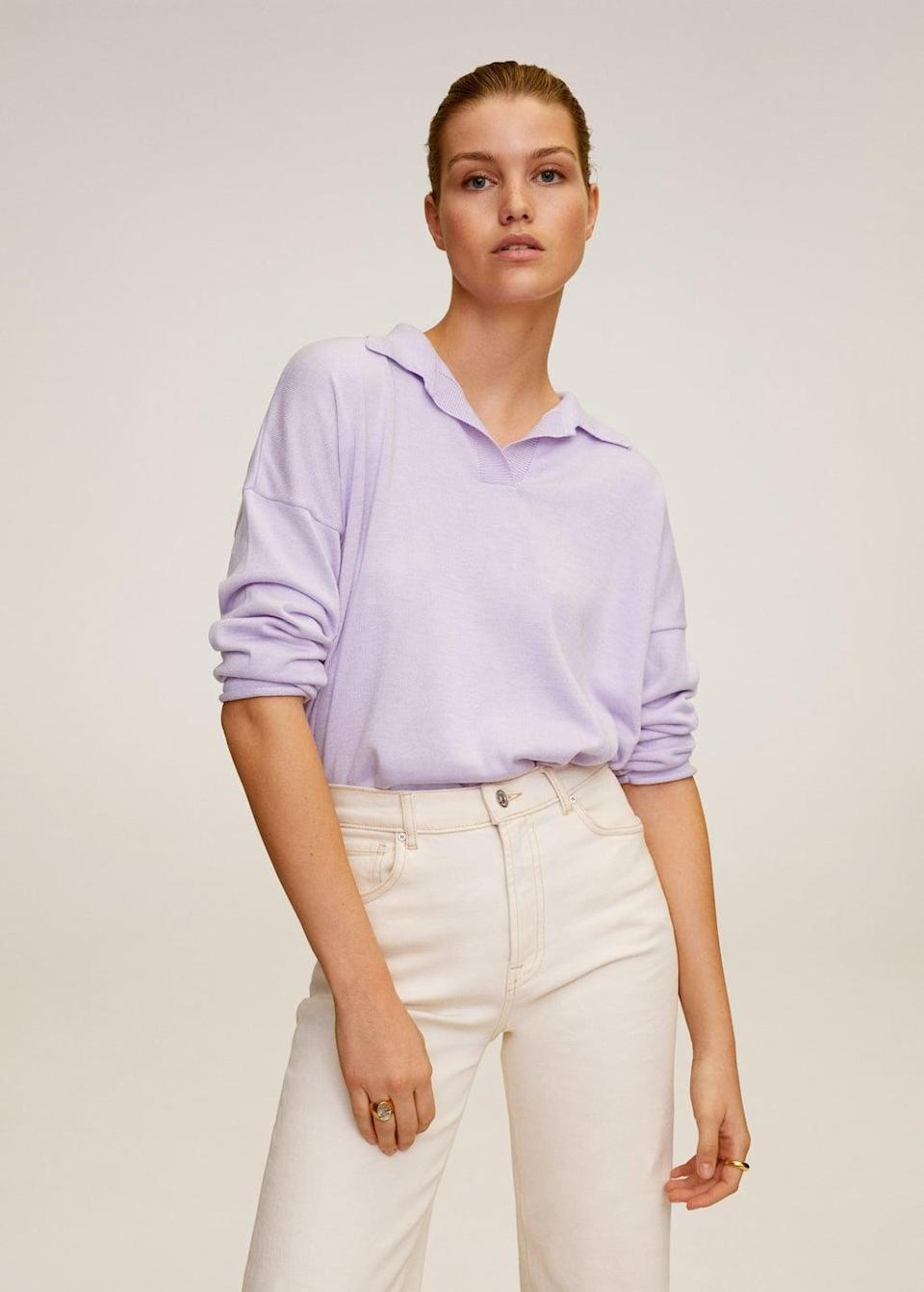 <p>We love the color of this <span>Mango Polo Style Sweater</span> ($70).</p>