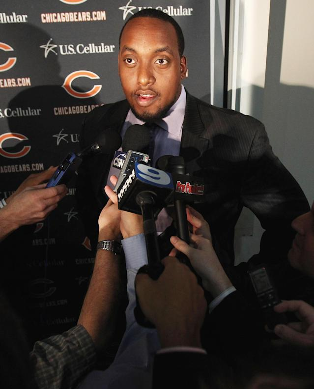 LAKE FOREST, IL - APRIL 26: Defensive tackle J'Marcus Webb of the Chicago Bears speaks to media during the 2010 Brian Piccolo Award ceremony at Halas Hall on April 26, 2011 in Lake Forest, Illinois. Players participated in the ceremony one day after a federal judge temporarily lifted the 45-day lockout, the NFL has already asked for a stay on the judges order. (Photo by Jonathan Daniel/Getty Images)