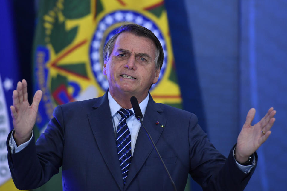 The President of the Republic, Jair Bolsonaro, this Wednesday, May 5, during the opening ceremony of the week of communications held at the Planalto Palace.