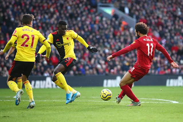 Mohamed Salah of Liverpool scores his sides first goal. (Credit: Getty Images)
