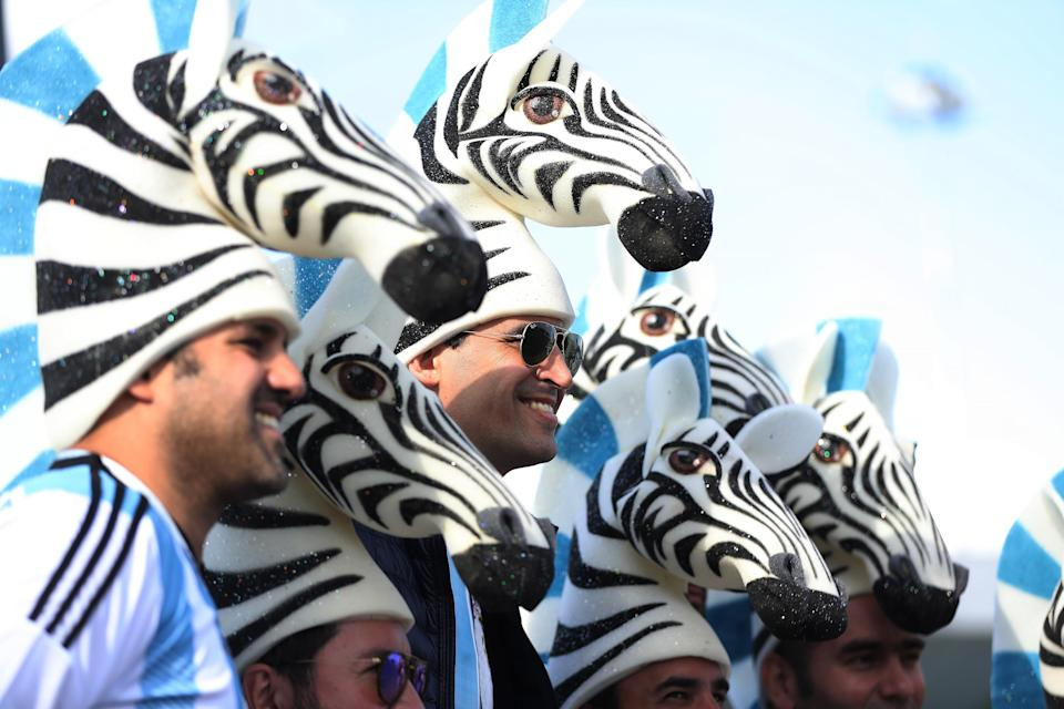 <p>Zebra crossing: Argentina fans showcase some interesting headwear before their clash with Iceland. (Photo by Ian MacNicol/Getty Images) </p>