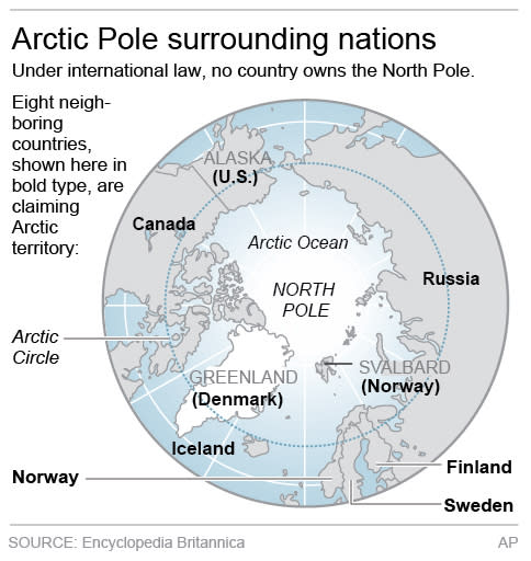 Map shows the North Pole and surrounding nations.; 2c x 3 inches; 96.3 mm x 76 mm;