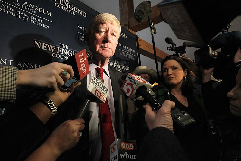 Former Massachusetts Gov. William Weld speaks to the media in Bedford, N.H. in February. (Photo: Suzanne Kreiter/The Boston Globe via Getty Images)