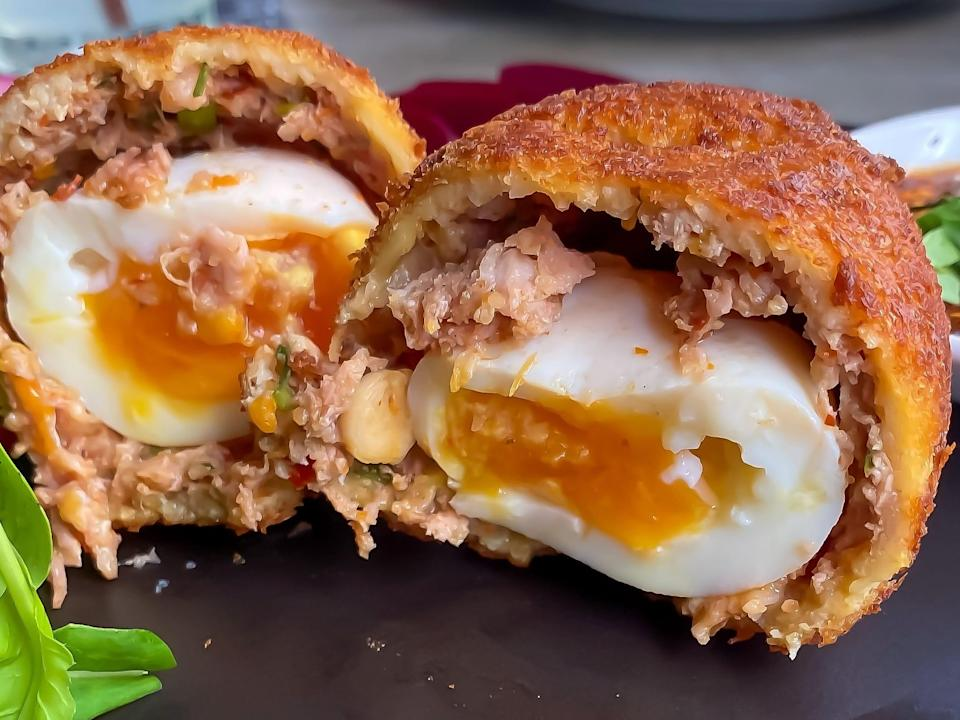 A Scotch egg is a hard-boiled egg covered in sausage meat and breadcrumbs.
