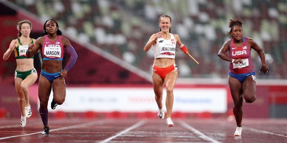 Tokyo, Japan - Brittni Mason (left) competes in the final of the women's T47 200m at the 2020 Tokyo Paralympics. Mason went on to claim silver. (Photo by Alex Pantling/Getty Images)