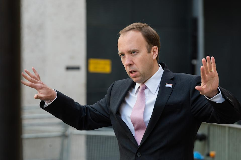 Secretary of State for Health and Social Care Matt Hancock speaks to media outside the BBC Broadcasting House in central London before appearing on The Andrew Marr Show on 20 September, 2020 in London, England. (Photo by WIktor Szymanowicz/NurPhoto via Getty Images)