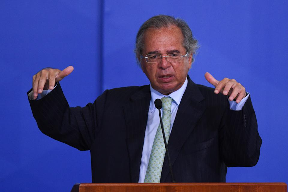 BRASILIA, BRAZIL - AUGUST 19: Paulo Guedes Minister of Economy of Economy of Brazil speaks during a ceremony to sanction the provisional measure that facilitates access to bank credit at the Planalto Palace on August 19, 2020 in Brasilia, Brazil. The bill creates a credit program for individual microentrepreneurs, micro, small and medium-sized companies. The program's objective is, through guarantees, to facilitate the obtaining of loans by companies to mitigate the economic impacts of the Covid-19 pandemic. (Photo by Andre Borges/Getty Images)