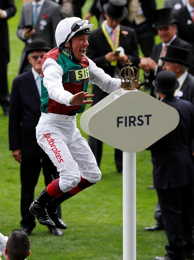 Horse Racing - Royal Ascot - Ascot Racecourse, Ascot, Britain - June 19, 2018 Frankie Dettori jumps off Without Parole as he celebrates winning the 4.20 St James's Palace Stakes REUTERS/Peter Nicholls