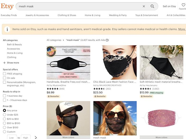 "Etsy currently lists thousands of ""breathable"" masks made from mesh."