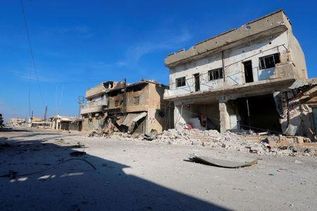 A general view shows a deserted street in the rebel-controlled area where forces loyal to Syria's President Bashar al-Assad carry out offensives to take control of the town of Kafr Nabudah, in Hama province