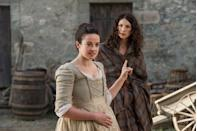 """<p>A corset and a fake belly? <a href=""""http://www.vulture.com/2015/04/outlander-jenny-on-the-attempted-rape-scene.html"""" rel=""""nofollow noopener"""" target=""""_blank"""" data-ylk=""""slk:No thanks."""" class=""""link rapid-noclick-resp"""">No thanks.</a></p>"""