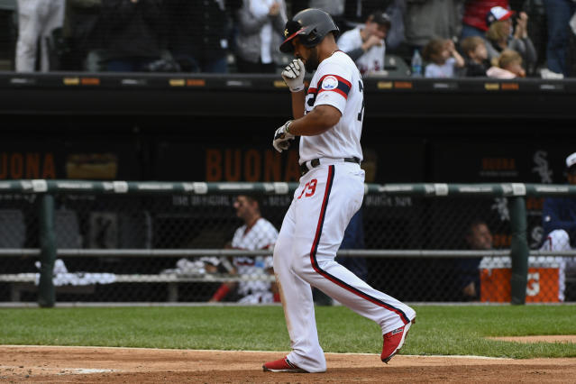 Chicago White Sox's Jose Abreu (79) heads to home plate after his home run during the third inning of a baseball game against the Los Angeles Angels Sunday, Sept. 8, 2019, in Chicago. (AP Photo/Matt Marton)