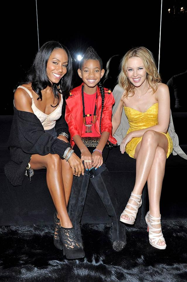 "Precocious pre-teen Willow Smith was all grown up while hanging out backstage in the Dolce & Gabbana VIP room with her mom Jada Pinkett-Smith and Aussie pop star Kylie Minogue during Milan Fashion Week. The ""Whip My Hair"" singer also scored a front-row seat to the designers' show. Venturelli/<a href=""http://www.wireimage.com"" target=""new"">WireImage.com</a> - September 26, 2010"