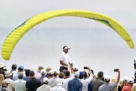 Bubba Watson waits to hit on the fourth tee during the third round of the U.S. Open Golf Championship, Saturday, June 19, 2021, at Torrey Pines Golf Course in San Diego. (AP Photo/Jae C. Hong)