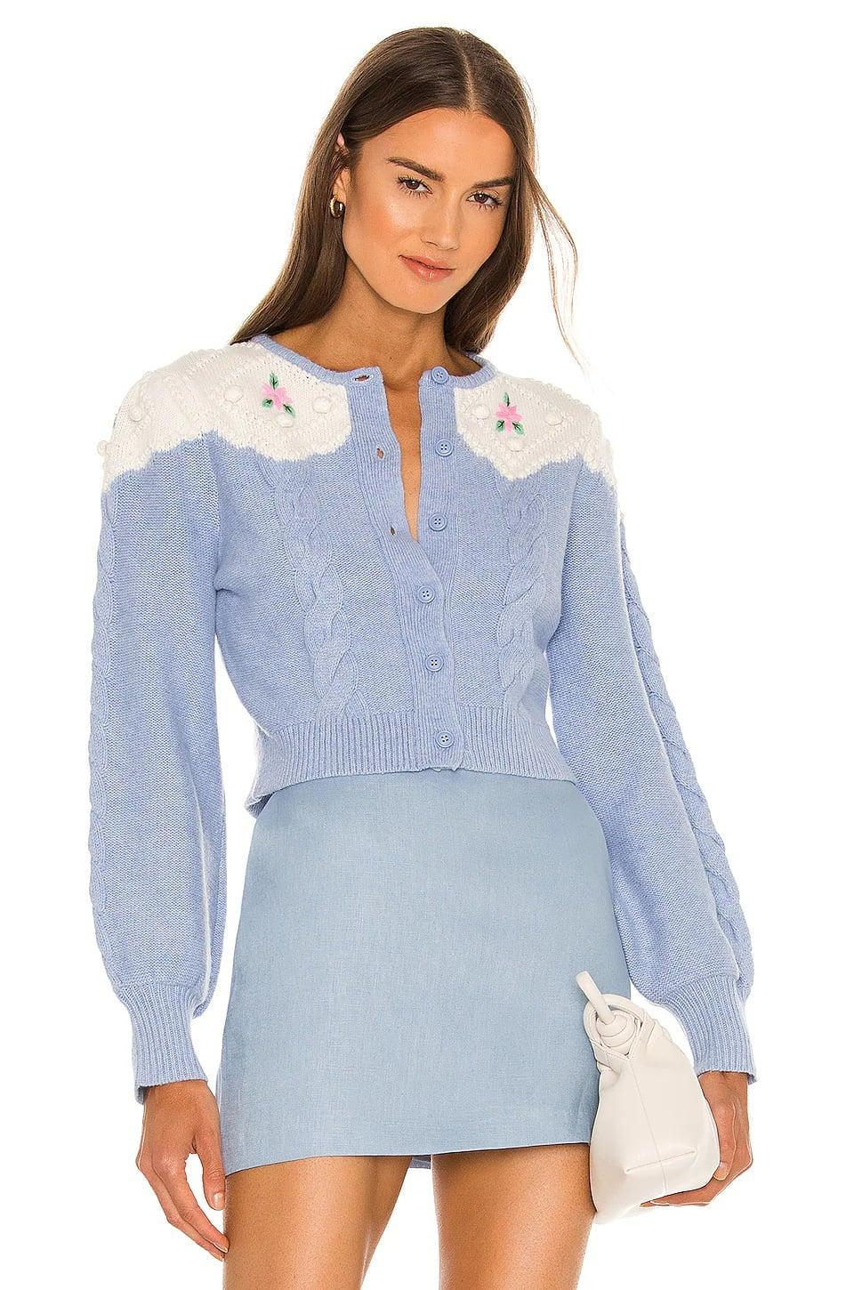 <p>The details <span>Alice McCall Day By Day Sweater</span> ($295) are so sweet. We like it paired with light wash denim and a sandal or boot going out at night.</p>