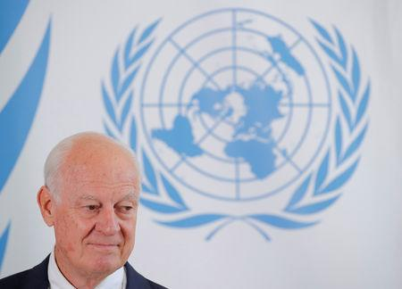 UN Syria envoy de Mistura attends a news conference in Geneva
