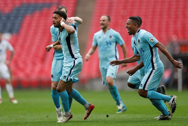 Soccer Football - National League Promotion Final - Tranmere Rovers v Boreham Wood - Wembley Stadium, London, Britain - May 12, 2018 Boreham Woods' Bruno Andrade celebrates scoring their first goal Action Images/Matthew Childs
