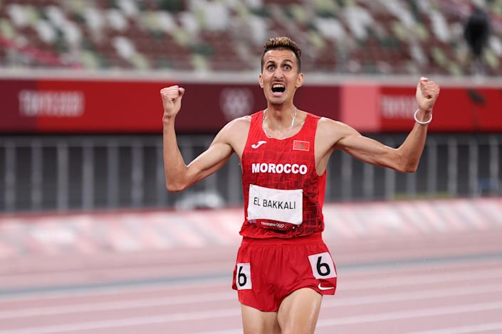 TOKYO, JAPAN - AUGUST 02: Soufiane El Bakkali of Team Morocco reacts as he wins the gold medal in the men's 3000 metres steeplechase on day ten of the Tokyo 2020 Olympic Games at Olympic Stadium on August 02, 2021 in Tokyo, Japan. (Photo by Christian Petersen/Getty Images)