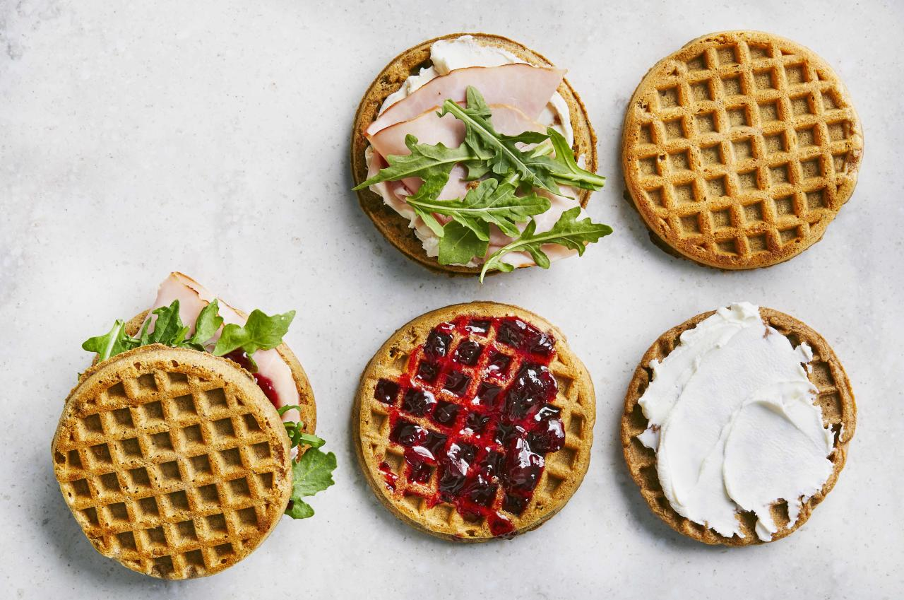 """<p><strong>Try this recipe:</strong> <a href=""""https://www.health.com/recipes/jammy-goat-cheese-waffle-sandwiches"""">Jammy Goat Cheese Waffle Sandwiches</a></p> <p>Who needs bread when you have waffles? Lend your next ham and cheese a sweet and tart twist by subbing in goat cheese and adding cherry jam.</p> <p><strong>Ingredients:</strong> Multigrain waffles, goat cheese, ham, baby arugula, cherry preserves</p> <p><strong>Calories: </strong>269</p>"""