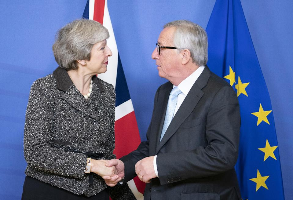 British prime minister Theresa May and European Commission president Jean-Claude Juncker (Getty)