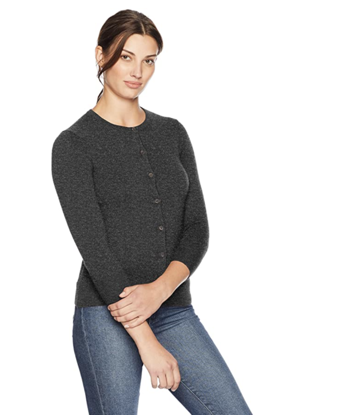 Lark & Ro Women's Three Quarter Sleeve Crewneck Cashmere Cardigan (Photo: Amazon)