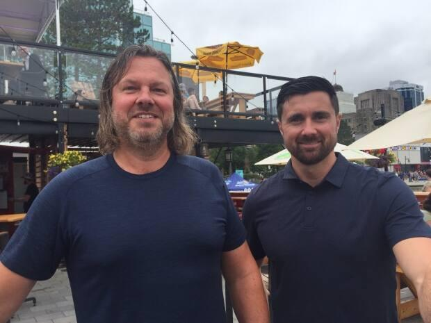 Geir Simensen, left, and Kyle Drake are two of the owners of Stubborn Goat Beer Garden.