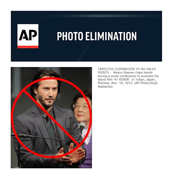 TARGETED ELIMINATION TO NO SALES POINTS - Keanu Reeves claps hands during a press conference to promote his latest film '47 RONIN' in Tokyo, Japan, Monday, Nov. 18, 2013. (AP Photo/Shuji Kajiyama)