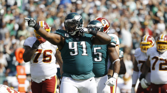 Eagles defensive lineman Fletcher Cox chased off an intruder outside his home last week. (AP/Michael Perez)