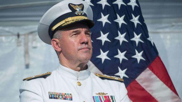 PHOTO: Admiral Karl Schultz speaks after becoming the Commandant of the U.S. Coast Guard during a Change of Command ceremony at Coast Guard Headquarters in Washington, June 1, 2018. (Saul Loeb/AFP/Getty Images, FILE)