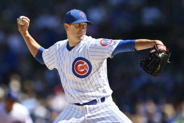 Chicago Cubs starter Kyle Hendricks delivers a pitch during the first inning of a baseball game against the Pittsburgh Pirates Saturday, Sept. 14, 2019, in Chicago. (AP Photo/Paul Beaty)