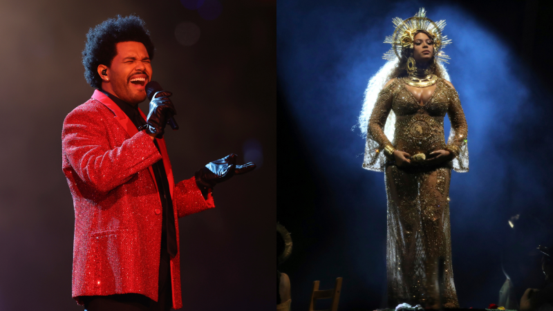 The Weeknd performs during halftime of NFL Super Bowl 55, Sunday, Feb. 7, 2021; Beyonce performs at the 59th annual Grammy Awards on Feb. 12, 2017.