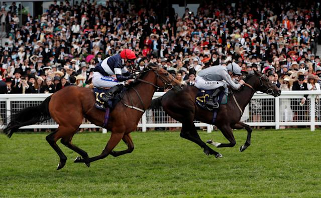 Horse Racing - Royal Ascot - Ascot Racecourse, Ascot, Britain - June 23, 2018 Soldier's Call (R) ridden by Daniel Tudhope wins the 3.40 Windsor Castle Stakes ahead of Sabre (L) ridden by Paul Hanagan Action Images via Reuters/Paul Childs