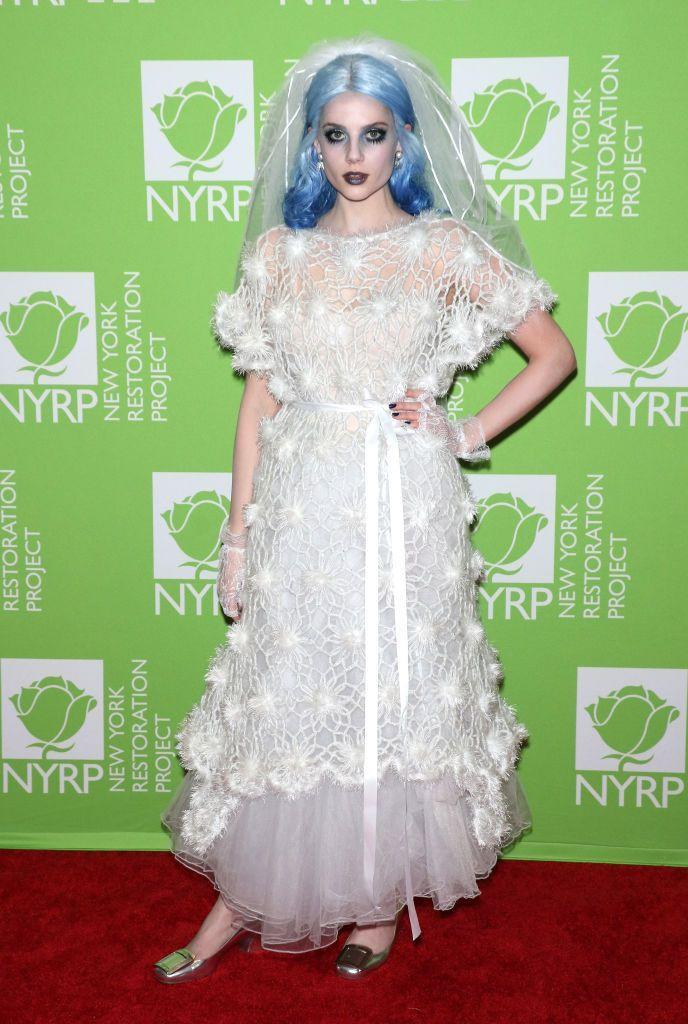 <p>Always one to rock a high-fashion beauty look, The Politician actress stayed true to this when attending Bette Midler's Halloween party in a spooky bridal look wearing a Ryan Lo white dress.</p>