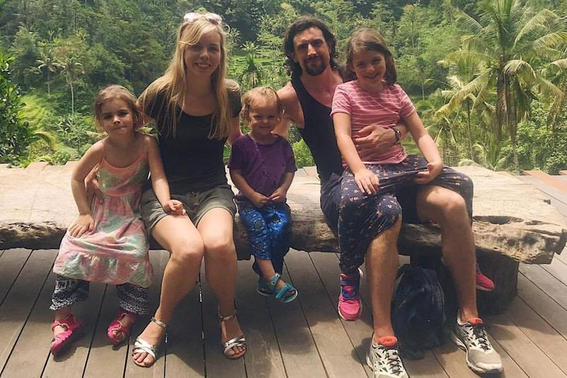 Hannah and Patrick Canavan and their three children in Bali