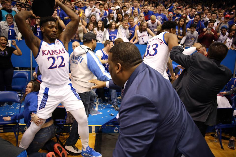 A single image from Tuesday's brawl threatens to encapsulate the state of KU basketball. ( Squire/Getty Images)