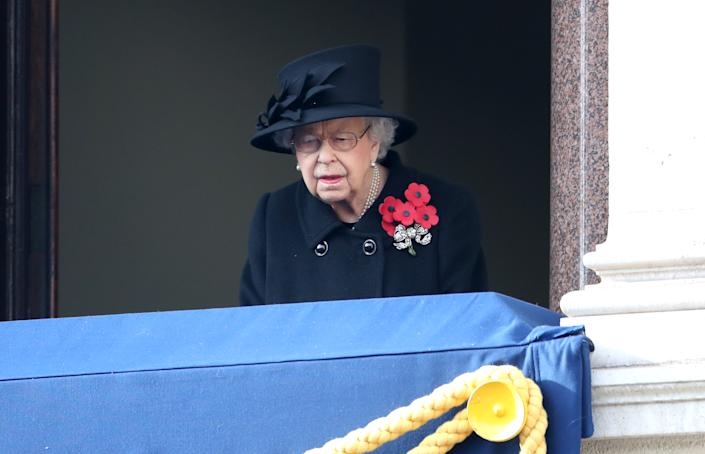 LONDON, ENGLAND - NOVEMBER 08: Queen Elizabeth II during the National Service of Remembrance at The Cenotaph on November 08, 2020 in London, England. Remembrance Sunday services are still able to go ahead despite the covid-19 measures in place across the various nations of the UK. Each country has issued guidelines to ensure the safety of those taking part. (Photo by Chris Jackson - WPA Pool/Getty Images)
