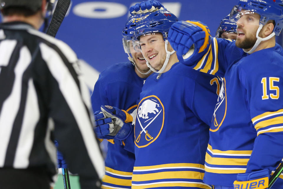 Buffalo Sabres forward Curtis Lazar (27) celebrates his goal during the second period of an NHL hockey game against the New York Devils, Sunday, Jan. 31, 2021, in Buffalo, N.Y. (AP Photo/Jeffrey T. Barnes)