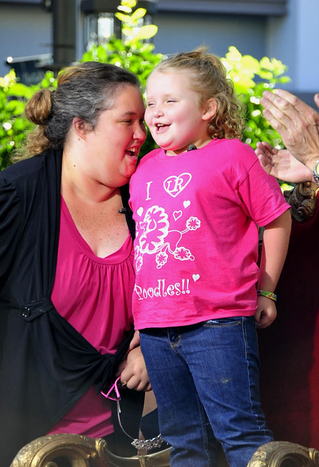 "Reality TV star Alana ""Honey Boo Boo"" Thompson and her mother June Shannon at the Grove Monday to tape for ""Extra"".