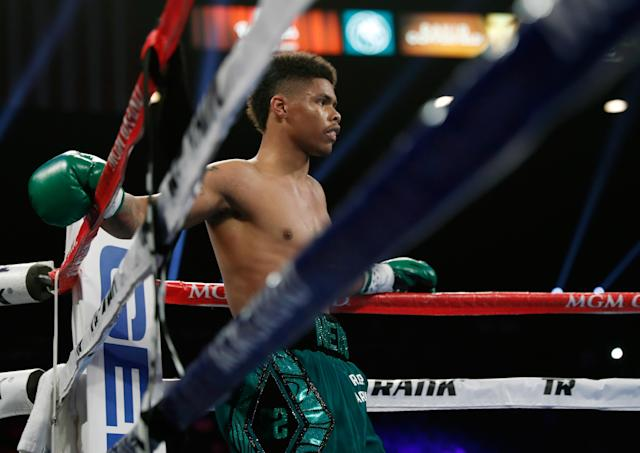 Shakur Stevenson's bout with Miguel Marriaga on Saturday, along with a second card on Tuesday, has been canceled amid the coronavirus outbreak. (Steve Marcus/Getty Images)