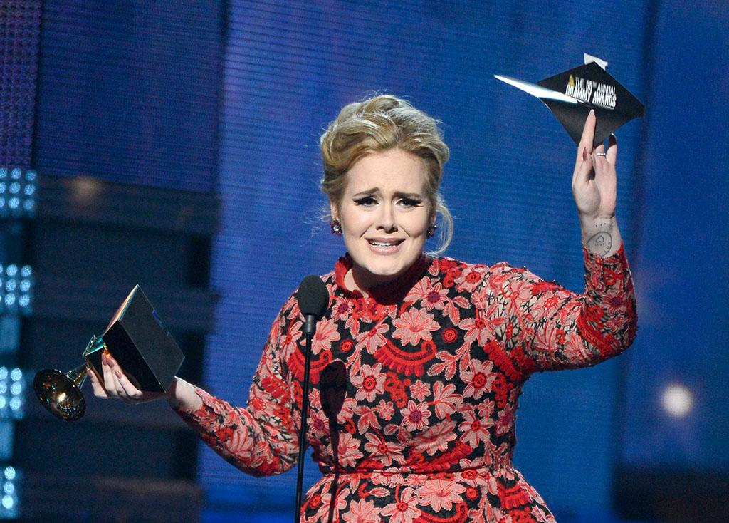 "Adele accepts Best Pop Solo Performance for ""Set Fire to the Rain (Live)"" onstage at the 55th Annual Grammy Awards at the Staples Center in Los Angeles, CA on February 10, 2013."