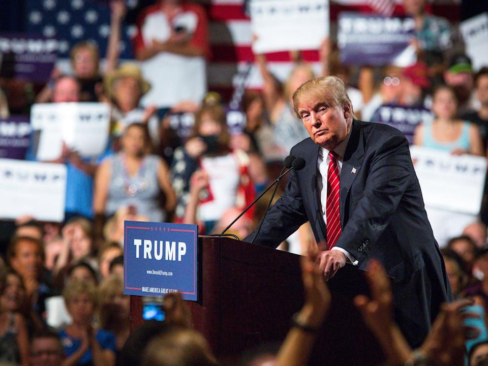 At least two people have been hospitalized with Covid-19 after attending the president's rally last month, though officials said it remained unclear where they contracted the novel virus. (Charlie Leight / Getty Images)
