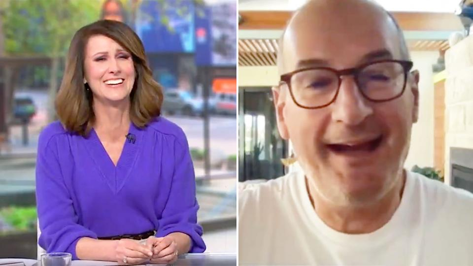 Nat Barr couldn't resist a little dig at Sunrise co-host David Koch about Port Adelaide's shocking end to the season. Pic: Channel 7
