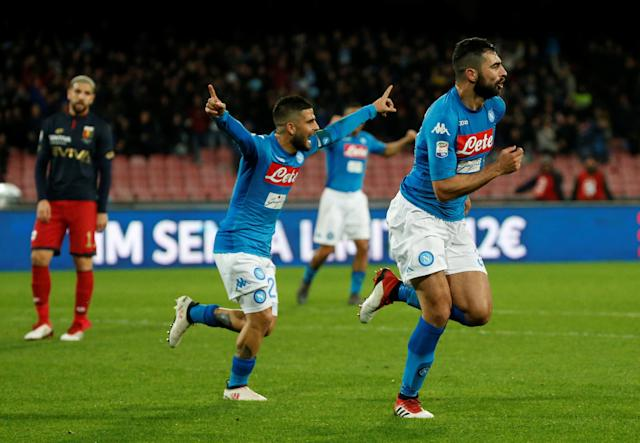 Soccer Football - Serie A - Napoli vs Genoa - Stadio San Paolo, Naples, Italy - March 18, 2018 Napoli's Raul Albiol celebrates scoring their first goal REUTERS/Ciro De Luca