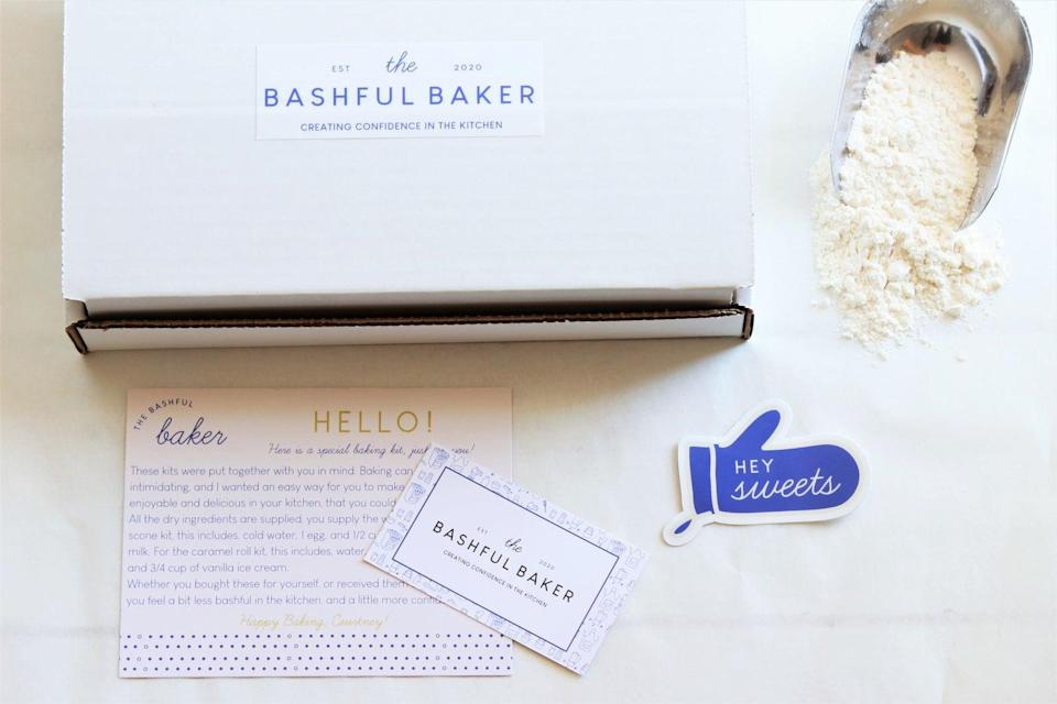 """<h2>The Bashful Baker DIY Scone Baking Kit<br></h2><br>While we hope you're going to be seeing your mom IRL on May 9th, some distance may be keeping you separated — that's where this top-rated DIY scone-baking kit comes in. You can send it to her if she's far-flung this year — or, just nab it to bake together in person as a Mother's Day activity.<br><br><em>Shop <strong><a href=""""https://www.etsy.com/shop/thebashfulbaker"""" rel=""""nofollow noopener"""" target=""""_blank"""" data-ylk=""""slk:The Bashful Baker"""" class=""""link rapid-noclick-resp"""">The Bashful Baker</a></strong> on Etsy</em><br><br><strong>The Bashful Baker</strong> DIY Scone Baking Kit, $, available at <a href=""""https://go.skimresources.com/?id=30283X879131&url=https%3A%2F%2Fwww.etsy.com%2Flisting%2F883626478%2Flong-distance-gift-diy-baking-kit"""" rel=""""nofollow noopener"""" target=""""_blank"""" data-ylk=""""slk:Etsy"""" class=""""link rapid-noclick-resp"""">Etsy</a>"""