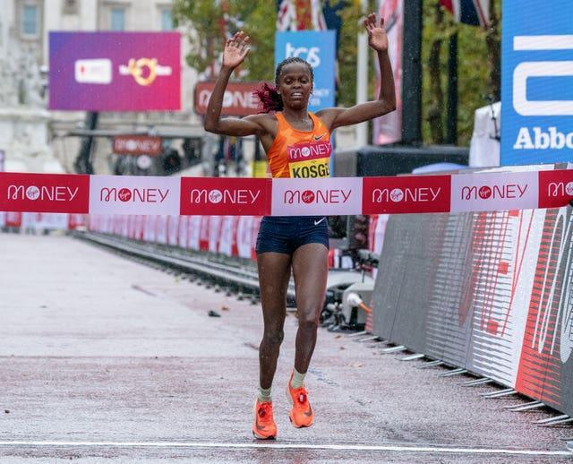 Kosgei won the London Marathon for the second time at the elite-only race in 2020